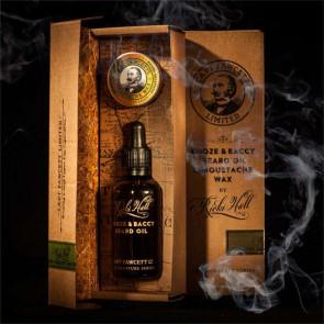 Set per barba ricki hall booze e baccy beard oil e moustache wax gift set